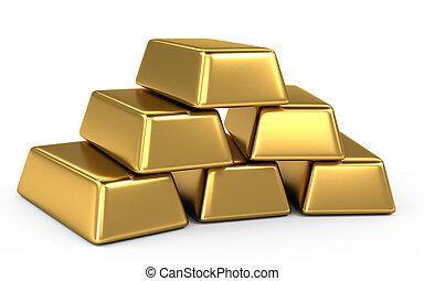 barres, pièces, or