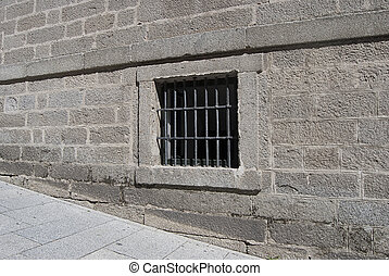barres, pierre, fenêtre, mur