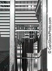 barres, porte, condamné, cris, derrière, prison, colère,...