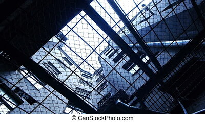 barres, regard, -, par, prison., hd