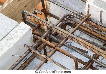 barres, vue, métal, renforcement, béton, verser, préparation, fondation, wire., connecté