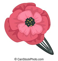 Barrette with poppy flower decoration, female hair accessory