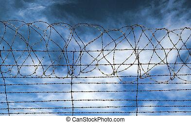barrière barbelé, prison, prison, ou