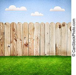 barrière, bois, herbe, conception, gabarit, vert