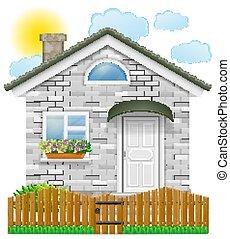 barrière, bois, pays, illustration, vecteur, maison, petit