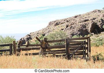 barrière, cow-boy, bois, vendange, ligne,  #1