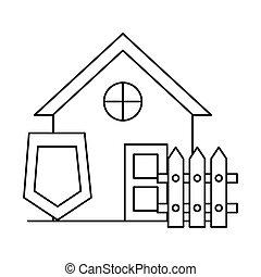 barrière, façade, maison, devant