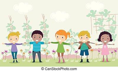 barrière, gosses, stickman, jardin, illustration