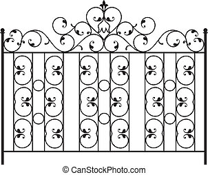 barrière, gril, porte, fenêtre, conception, fer, balustrade...
