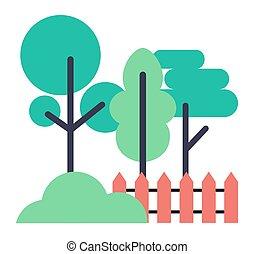 barrière, icônes, bois, arbres, buisson, blanc