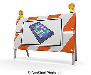 barrière, illustration, signe, téléphone portable, construction, nouveau, intelligent, 3d