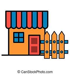 barrière, maison, devant, façade