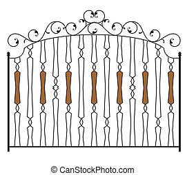 barrière, porte, fer, gagner, forgé, portail