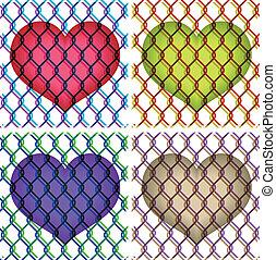 barrière, sous, chaîne, cœurs, lien