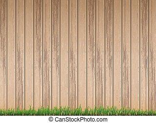 barrière, sur, bois, fond, frais, herbe