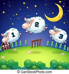 barrière, sur, sauter, dénombrement, sheeps