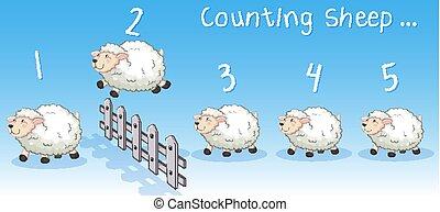 barrière, sur, sauter, sheeps