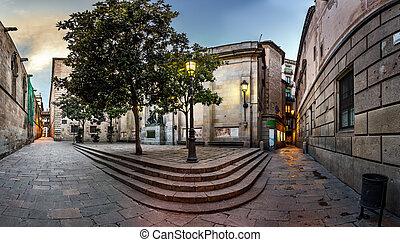 Barri Gothic Quarter and Bridge of Sighs in Barcelona, ...