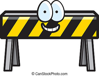 Barricade Smiling - A cartoon construction barricade happy...