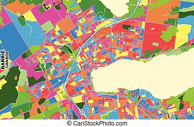 Barrie, Ontario, Canada, colorful vector map