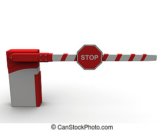 A red and white barrier background
