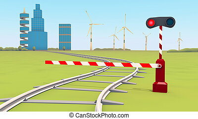 barrier closes the railway