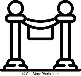 Barrier cordon icon, outline style - Barrier cordon icon. ...