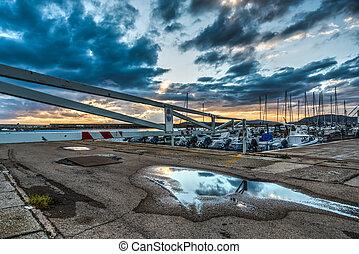 Barrier in Alghero harbor
