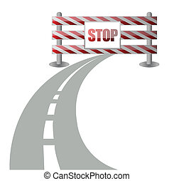 barrier on the road illustration design over white