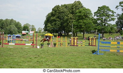barrier rider horse race - Barriers in steeplechase horse...
