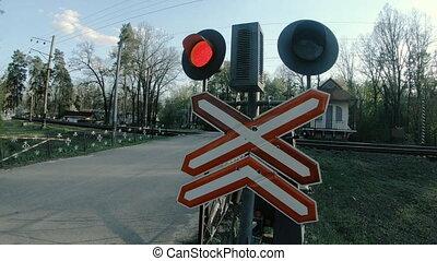 barrier., sans, route, croisement, fer, niveau, signe.