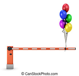 Barrier with balloons isolated on white background. 3d...