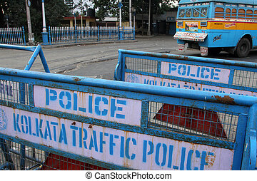 Barriers at the street ready for use by police on Nov 25, 2012 in Kolkata, India. Barrieres are placed all over Kolkata in case of demonstrations.
