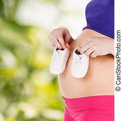 barriga, de, um, mulher grávida