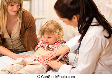 barriguita, examinar, pediatra, oficina, niño