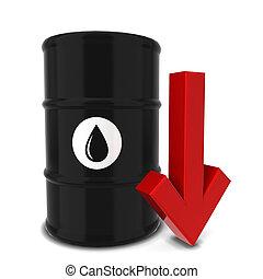 barril óleo, com, seta vermelha