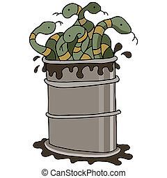 barril, aceite, serpiente
