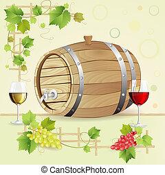 barril, anteojos, uvas de vino