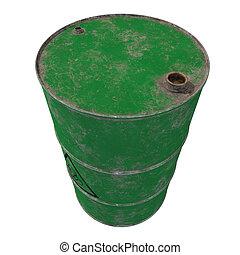 barril, de, biológico, waste., aislado, ., 3d, render.