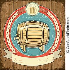 barril, de, cerveza, etiqueta, conjunto, en, viejo, papel,...