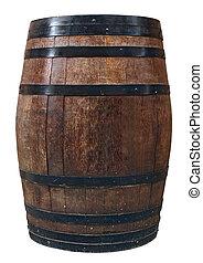barril de madera, viejo, vino