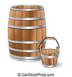 barril de madera, y, cubo