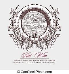 ., barril del vino, con, uvas, guirnalda