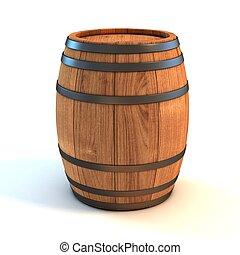 barril, encima, fondo blanco, vino