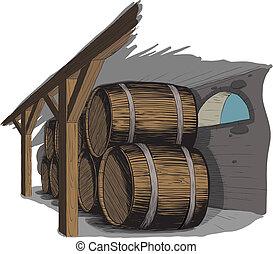 barril, filas, viejo, sótano, vino