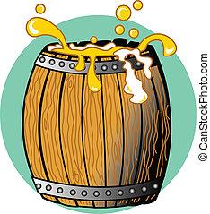 barril madeira, cheio, de, cerveja