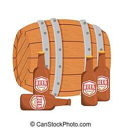 barril madeira, com, garrafas cerveja, desenho