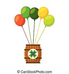 barril madeira, de, cerveja, com, grupo, balões, ornamento