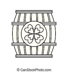 barril madeira, de, cerveja, com, trevo
