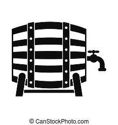 barril madeira, de, cerveja, com, um, torneira, ícone